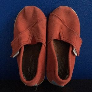 Toms red slip ones Velcro toddler 7